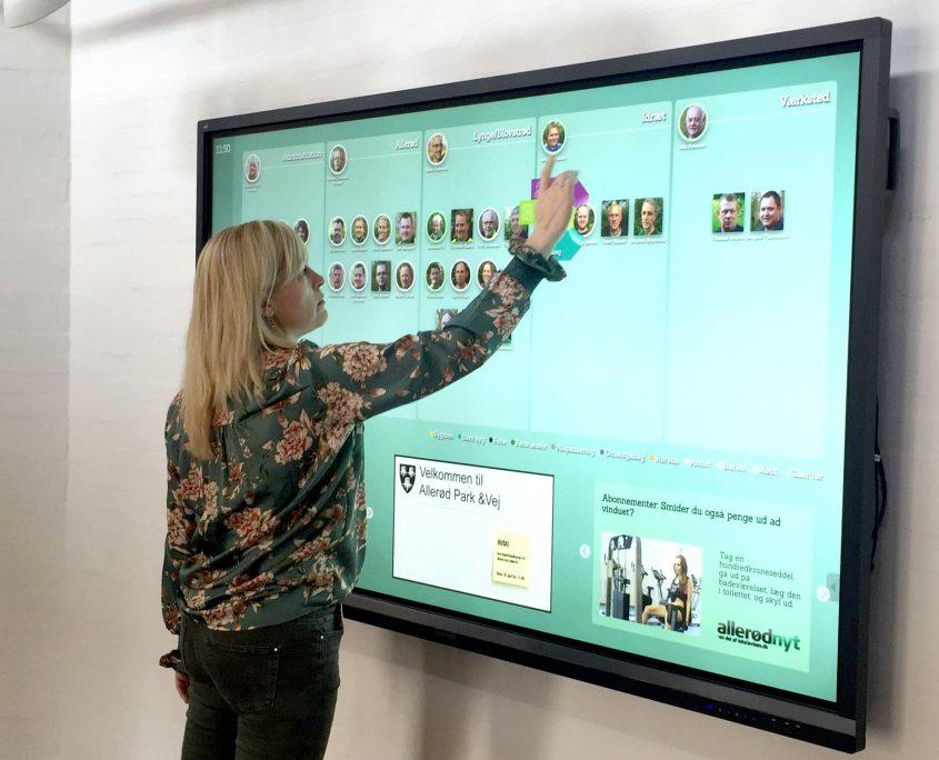 Digital indtjekning skærm